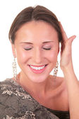 Pretty woman touch by hand her head — Stock Photo