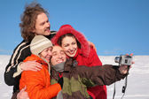 Group of friends photographs itself in winter — Stock Photo