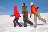 Three friends walk on snow on hillside — Stock Photo