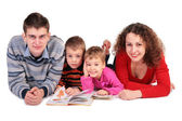 Parents with children and books — Stock Photo