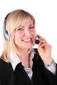 Middleaged woman with headset 2 — Stock Photo