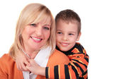 Middleaged woman with boy posing — Stock Photo