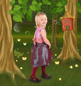 Little girl in fairy tale — Stock Photo