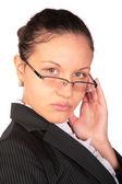 Belle femme brune à lunettes — Photo