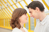 Boy and girl look at each other — Stock Photo