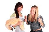Twee vrolijke meisjes — Stockfoto
