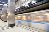 Moving metro train — Stock Photo