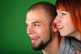 Beard red couple smile faces — Stock Photo