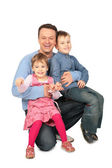 Father it children sit on laps — Stock Photo