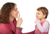 Mother and daughter do gesture more silently — Stock Photo