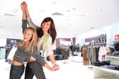 Two dance girl in shop — Stock Photo