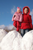 Mother and child on snowdrift — Stock Photo