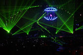 Laser rays on concert — Stock Photo