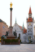 Square of medieval city with monument — Stock Photo
