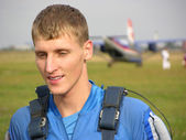 Face parachutist. first time. — Stock Photo
