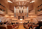 Concert hall with organ — Stock Photo