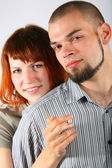 Young man and red hair woman — Stock Photo