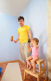 Father and child repair room — Stock Photo