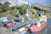 Model of port with railway — Stockfoto