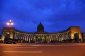 Kazan cathedral in St.-Petersburg at night — Stock Photo
