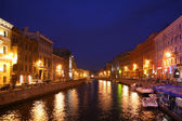 Channel in St.Petersburg in dusk — Stock Photo