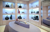 Shoes and bags in store — Stock Photo