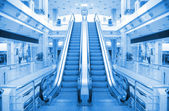Escalator in trade center — Stock Photo