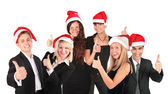 Christmas business group with ok gesture — Stock fotografie