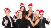Jul företagsgrupp med ok gest — Stockfoto
