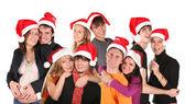 Vánoční mnoho párů skupina — Stock fotografie
