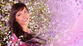Primavera mujer collage — Foto de Stock