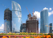 Building of skyscrapers in Moscow — Stock Photo