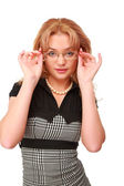 Young blonde in glasses — Stock Photo