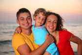 Family on sea background — Foto Stock