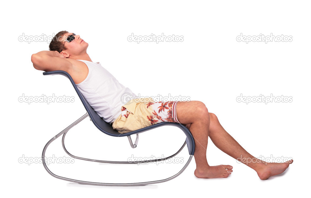 Young man relaxes in lounge — Stock Photo #7442163