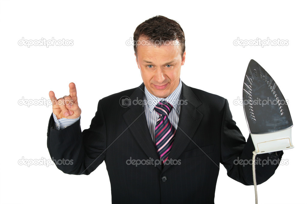 Angry businessman gangster with iron — Stock Photo #7443445