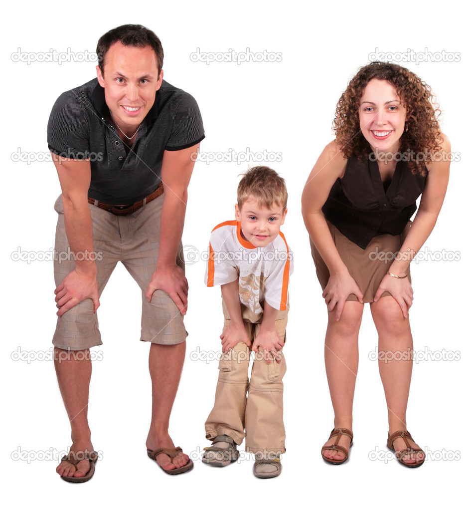 Father, mother and son look having bent down — Stock Photo #7443687