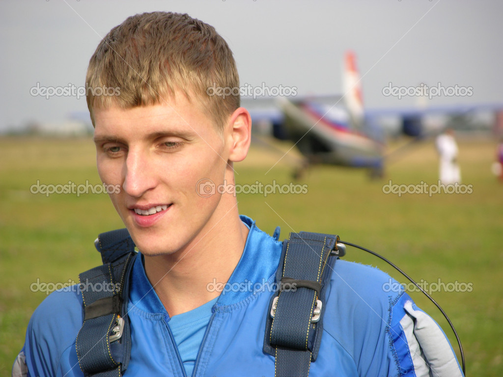 Face parachutist. first time.           — Stock Photo #7445108