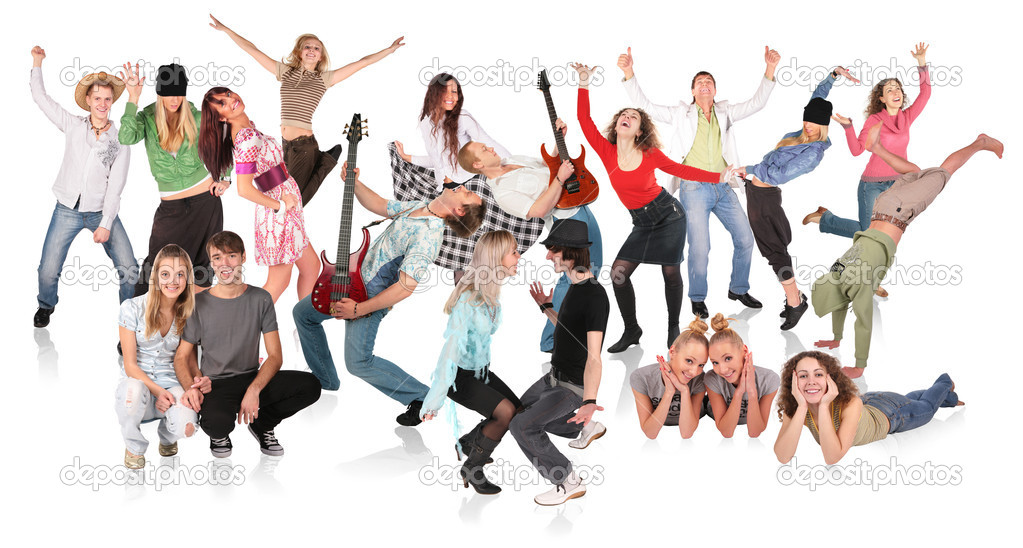 Party dancing group  Stock Photo #7448435