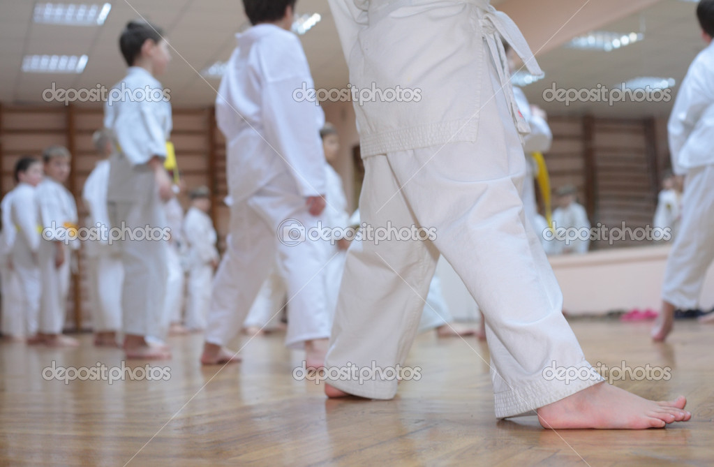 Karate boys in sport hall — Stock Photo #7449996
