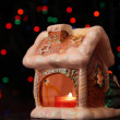 Toy small house-candlestick — Stock Photo