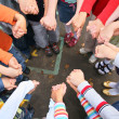 Circle from children, who are held for hands — Stock Photo #7450341
