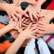 Children have combined hands together — Stock Photo