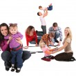 Happy playing families — Stock Photo