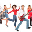 Dancing happy group — Stockfoto
