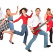 Dancing happy group — Stock Photo