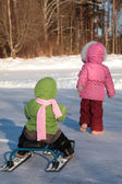 Child pulls another on snow scooter from back — Stock Photo