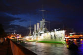 Cruiser Aurora at night — Stockfoto