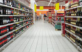 Wine department in supermarket — Stock Photo