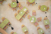 Tables in cafe from top view — Stock Photo